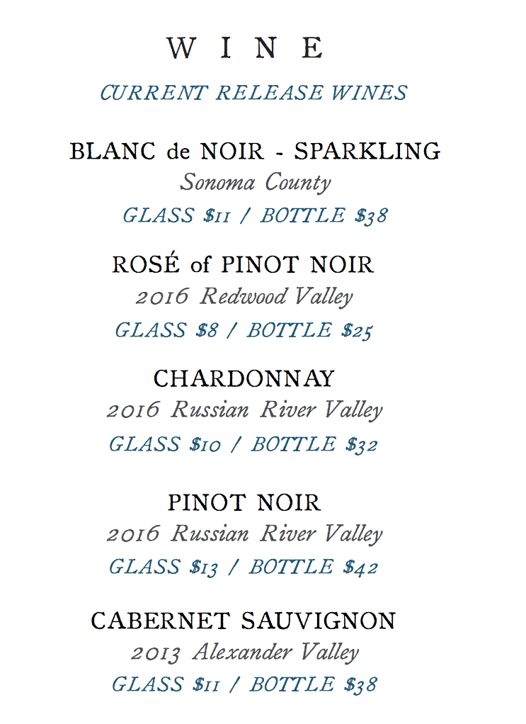 Bowman Cellars Menu Wine