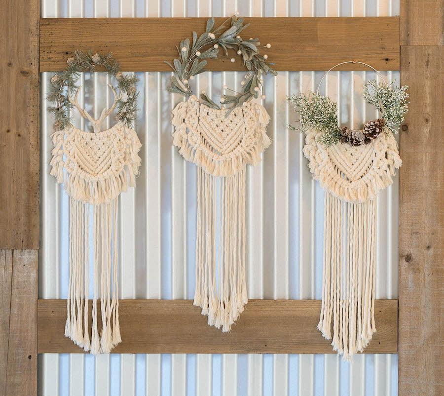 Three Macrame Hanging Wreaths